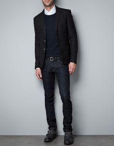 Zara - thick piqué blazer, round-necked merino jersey sweater, fully buttoned white shirt, black leather belt, black studded shoe