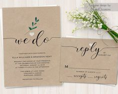 We Do Wedding Invitation Wedding Invite Modern Calligraphy Wedding Kraft Wedding Invitations, Greenery Wedding Printable Digital Template by NotedOccasions
