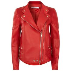Givenchy Biker Jacket (2.909.605 CLP) ❤ liked on Polyvore featuring outerwear, jackets, givenchy, biker jackets, givenchy jacket, red biker jacket, leather jackets and buckle leather jacket