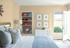 Guest room, living rooms, and hall -look at the paint color combination I created with Benjamin Moore. Via Wall: Pashmina Trim: Wind's Breath Bookcase Back Wall: Silhouette Ceiling: White Heron Benjamin Moore Bedroom, Benjamin Moore Paint, Sea Star Benjamin Moore, Benjamin Moore Bunny Gray, Benjamin Moore Ocean Air, Best Bedroom Paint Colors, Paint Colours, Timberwolf, Bedroom Decor