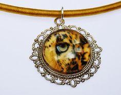 Vintage Leopard Auge  Glas Cabochon Kette am von ArtJewelryFun