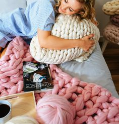 Wonderful extreme yarn knitting and crocheting - giant knitted blankets, cushions and throws Knitted Blankets, Merino Wool Blanket, Knitting Needles, Knitting Yarn, Crochet Hooks, Knit Crochet, Giant Knitting, Barnsley, Loom Weaving