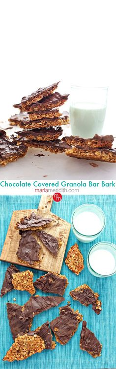 Chocolate Covered Granola Bar Bark, a gluten free recipe great in lunch boxes & perfect for homemade holiday gifts too! MarlaMeridith.com ( @marlameridith )