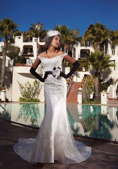 Classic Satin Floor Length Mermaid Natural Waist Chapel Train Wedding Gowns
