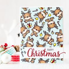 Time to color a herd of reindeer! I think there are 18 reindeer on this card although some of them you can only see the odd hoof LOL. This was such a fun card to make. Holiday Cards, Christmas Cards, Reindeer Christmas, Christmas Tables, Nordic Christmas, Modern Christmas, Mama Elephant Stamps, Doodle Designs, Reno