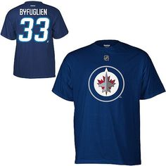 Reebok Winnipeg Jets Dustin Byfuglien Player Name & Number T-Shirt Large by Reebok. $25.00. Wearing this NHL® Player Name & Number tee shirt from Reebok® will show everyone you're a hardcore fan! Classic cut and made of high-quality cotton, this short-sleeve shirt is designed with the full-color team logo screen-printed on the front and the player's name and number screen-printed printed on the back.