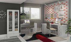 Conjunto Home Office com Mesas para Computador, Estante e 2 Cadeiras Branco/Savana Geométrico - Caaza
