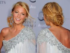 Steal Blake Lively's sexy 'do. Anyone can put her hair in a knot, but braids make this style so right now. Orget's how-to: Spritz wet strands with a texturizing spray such as Philip B. Maui Wowie Beach Mist, $22, and diffuse until dry. Side-part hair, then part again from your crown to the back of each ear. Braid the two front sections from the hairline toward the back of the head, stopping halfway. Pull all hair into a ponytail and secure it; then braid a small section of the tail, wrap…