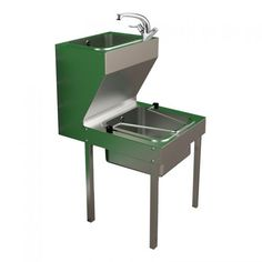 Stainless steel janitorial combined bucket sink and hand wash unit. Complete with hinged bucket grating, lever operated swivel mixer tap, waste fittings and legs. In stock to buy online.