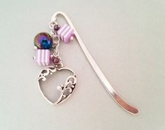 Violet and silver heart metal bookmark with by MKedraHandmade, $16.00