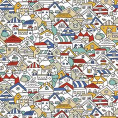 Maria Faci Pattern 'Casitas' #houses #illustration