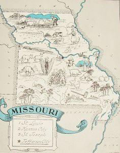 Vintage Missouri Map  Original Little by StoriesDivinations, $32.00
