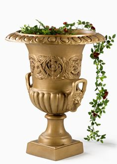24in Gold Urn With Lion's Head and Handles (for arch)
