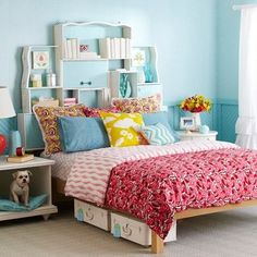 Love the idea of reusing the drawers! Any teenager would love this headboard.