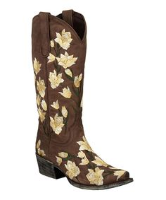Look at this Lane Boots Brown Juanita Leather Cowboy Boot on #zulily today!