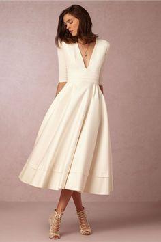 Midi wedding dress.