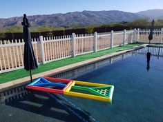 Got tired of the crappy inflatable ones. Beer Pong Float, Pool Beer Pong, Floating Beer Pong Table, Beer Pong Tables, Diy Pool Table, Diy Table, Above Ground Pool, In Ground Pools, Pool Noodle Crafts