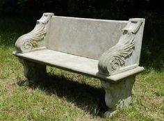 Superb weathered Garden Bench Stone Composite Lion Paw Feet