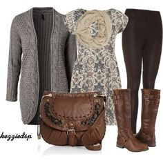 "Love the black, grey cardigan & brown boots & purse with the grey and cream dress shirt. ""Untitled #1504"" by kezziedsp on Polyvore"