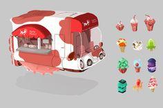 Futuristic Ice Cream/ Frozen Dessert Food Truck