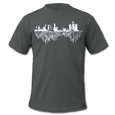 Detroit Skyline With Roots Men's American Apparel Tee ~ 316