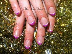 French met wit en glitter roze