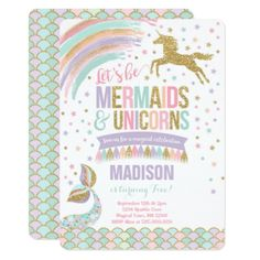 #party - #Mermaid & Unicorn Birthday Invitation Magic Party