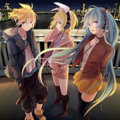 Vocaloid - Hatsune Miku, Rin and Len Kagamine