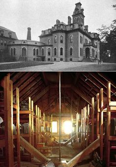 Attic (bottom photo) at Willard Asylum, NY, built in where hundreds of suitcases were found after the asylum was closed in The suitcases contained patients prized possessions and photographs. Willard Asylum, Creepy Stuff, Suitcases, Macabre, Paranormal, Attic, New York City, The Past, Photographs