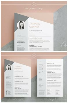Professional Resume/CV and Cover Letter Templates. Our design, 'Tamara', contains a professional two page design with matching cover letter and funky triangle/polygon header. Everything is editable including fonts and colors so be sure to personalize to suit your needs. Move and duplicate elements and make the design your own!