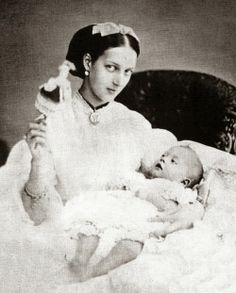 Princess Alexandra, Princess of Wales (Queen Alexandra) with Prince Albert Victor, (Duke of Clarence and Avondale) in 1864