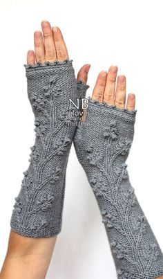 Hand Knitted Fingerless Gloves, Grey, Long, 29 cm (11,5 inches), Clothing And Accessories, Gloves & Mittens, READY TO SHIP