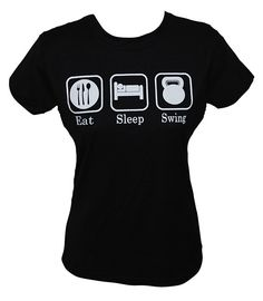 Kettlebell: Eat Sleep Swing female black shirt with white graphic