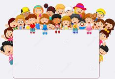 Crowd children cartoon with blank sign. Illustration of Crowd children cartoon w , Borders For Paper, Borders And Frames, Borders Free, School Border, Blank Sign, Blank Banner, School Frame, Kids Background, Powerpoint Background Design
