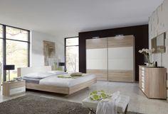 Chambre adulte contemporaine NIZZA chêne/rechampis gris brillant ...