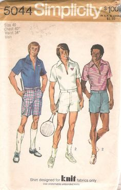 Simplicity 5044 1970s Mens TENNIS Shorts and Pullover by mbchills