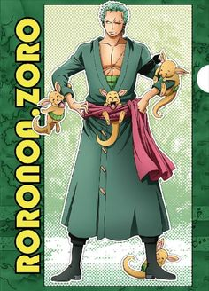 Roronoa Zoro with kangaroos Zoro Nami, Roronoa Zoro, One Piece Anime, Pirates, Fan Art, Boys, Cute, Fictional Characters, Kangaroos