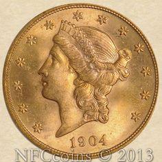1904 Twenty Dollar Gold Liberty MS66 PCGS, obverse.