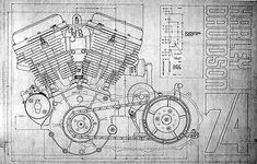 Blueprints for Harley Davidson Panhead, Flathead, Frames American Motorcycles, Old Motorcycles, Harley Davidson Panhead, Road King Classic, Motorcycle Exhaust, Old Bikes, Things That Bounce, Frames, Construction