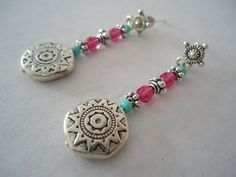 Gypsy beaded earrings hand made with mexican charm, silveries, turquoise and fuscias beads - Ethnical hippy jewel