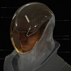 Non pressurized, semi transparent carbon suit. Alien planetary air consists of breathable oxygen allowing researchers to wear a biohazard suit that reflects aesthetics found in space suites today.