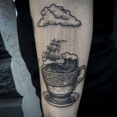 If you have been wanting to show love to your coffee addiction, these coffee tattoos may have just the inspiration that you need to make the big plunge. If you love tattoos half as much as you love the almighty magic … Read Future Tattoos, Love Tattoos, Tattoo You, Beautiful Tattoos, Black Tattoos, Body Art Tattoos, Rain Tattoo, Tatoos, Sea Tattoo