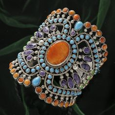 Bracelet | Artist ? Silver, coral, turquoise and amethyst.