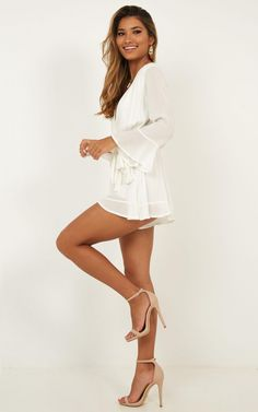 Sunday Breeze Playsuit In White | Showpo Skirt Outfits, Sexy Outfits, Sexy Dresses, Cute Dresses, Casual Dresses, Summer Outfits, Fashion Outfits, Pernas Sexy, Picnic Outfits