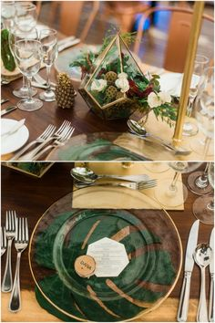 The designed wooden tables were set with centerpieces that hung from gold bars, terrariums filled with succulents, gold and rose gold little candle holder, and clear places over tan linen napkins and banana leaves. See more awesome ideas: http://www.confettidaydreams.com/boho-beach-wedding-in-cancun-mexico/