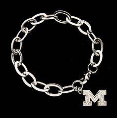B51Z0476 - University of Michigan Bracelet with Sparkling Block 'M' Charm.