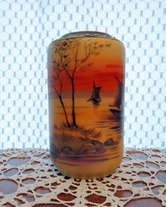 Hand Painted NIPPON Vase with Sailing Ships in the Sunset with Moriage Applications on Top by hellonikita on Etsy
