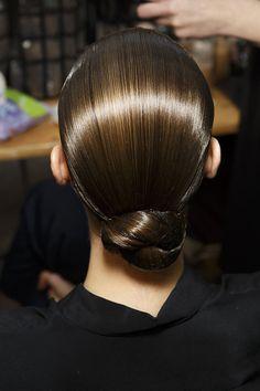 Great Dark Brown Golden Hair Color in a Slick bun at Akris Fall 2014 - Runway Beauty at Paris Fashion Week #PFW