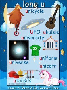 'long u' words phonics poster - Free Download!