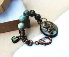 Bohemian bracelet, green and blue, ceramic beads, gaea, Jynnjewels, art tile, knotted bracelet by Esfera Jewelry